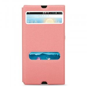 Текстурный чехол горизонтальная книжка подставка на пластиковой основе с окном вызова и свайпом для Sony Xperia Z Розовый