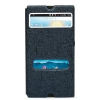 Текстурный чехол горизонтальная книжка подставка на пластиковой основе с окном вызова и свайпом для Sony Xperia Z Синий