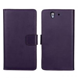 Чехол портмоне подставка на пластиковой основе на магнитной защелке для Sony Xperia Z  Фиолетовый