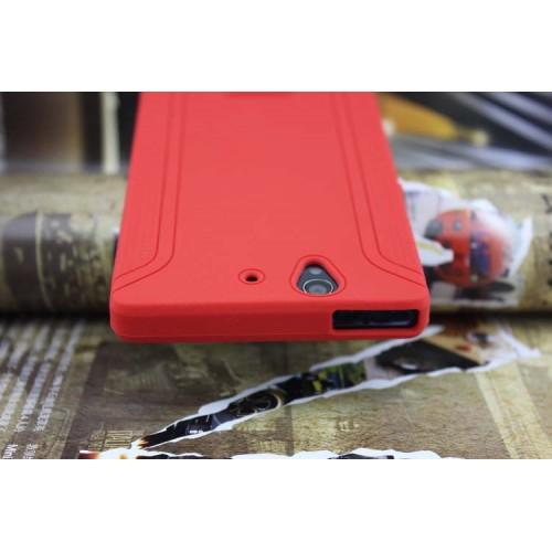Силиконовый матовый непрозрачный чехол с нескользящими гранями для Sony Xperia Z