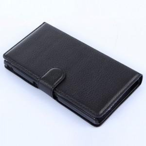 Чехол портмоне подставка на пластиковой основе на магнитной защелке для Sony Xperia Z  Черный