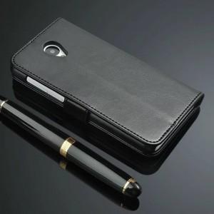 Глянцевый чехол портмоне подставка на пластиковой основе на магнитной защелке для Meizu M2 Note  Черный