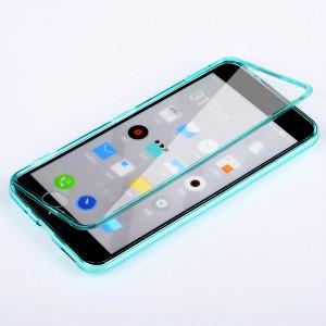 Двухкомпонентный силиконовый матовый полупрозрачный чехол горизонтальная книжка с акриловой полноразмерной транспарентной смарт крышкой для Meizu M2 Note  Фиолетовый