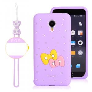 Силиконовый матовый непрозрачный дизайнерский фигурный чехол для Meizu M2 Note  Фиолетовый