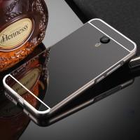 Двухкомпонентный чехол c металлическим бампером с поликарбонатной накладкой и зеркальным покрытием для Meizu M2 Note  Черный
