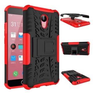 Противоударный двухкомпонентный силиконовый матовый непрозрачный чехол с поликарбонатными вставками экстрим защиты с встроенной ножкой-подставкой для Meizu M2 Note Красный