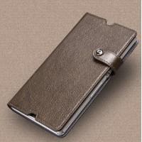 Глянцевый чехол портмоне подставка на клеевой основе на магнитной защелке док-совместимый для Sony Xperia Z  Коричневый