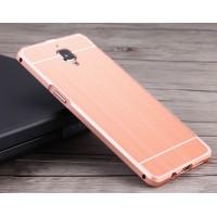 Двухкомпонентный чехол c металлическим бампером с поликарбонатной накладкой и текстурным покрытием Металл для OnePlus 3 Розовый