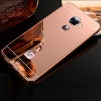 Двухкомпонентный чехол c металлическим бампером с поликарбонатной накладкой и зеркальным покрытием для LeEco Le 2  Розовый