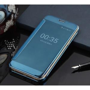 Пластиковый полупрозрачный чехол с полупрозрачной крышкой с зеркальным покрытием для Samsung Galaxy J1 (2016) Голубой