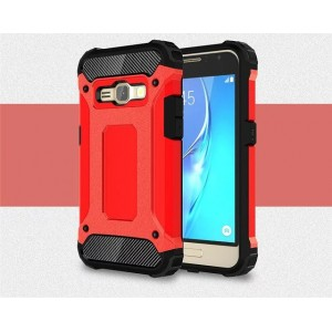 Противоударный двухкомпонентный силиконовый матовый непрозрачный чехол с поликарбонатными вставками экстрим защиты для Samsung Galaxy J1 (2016) Красный