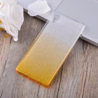 Силиконовый матовый полупрозрачный градиентный чехол для Sony Xperia XA Желтый