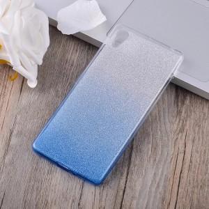 Силиконовый матовый полупрозрачный градиентный чехол для Sony Xperia XA Синий
