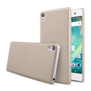 Пластиковый непрозрачный матовый нескользящий премиум чехол для Sony Xperia XA Бежевый