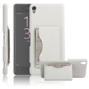 Чехол накладка текстурная отделка Кожа с отсеком для карт и функцией подставки для Sony Xperia XA