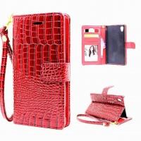 Глянцевый чехол портмоне подставка текстура Крокодил на пластиковой основе на магнитной защелке для Sony Xperia XA Красный