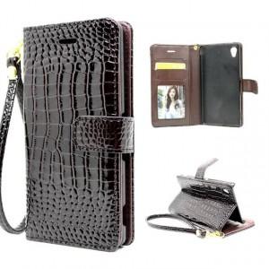 Глянцевый чехол портмоне подставка текстура Крокодил на пластиковой основе на магнитной защелке для Sony Xperia XA Коричневый