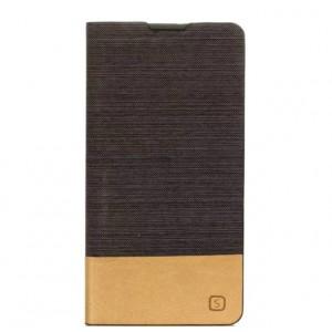Чехол горизонтальная книжка подставка текстура Линии на силиконовой основе с отсеком для карт для Sony Xperia XA  Черный