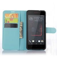 Чехол портмоне подставка на силиконовой основе на магнитной защелке для HTC Desire 825  Голубой
