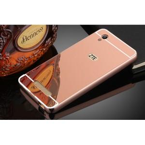 Двухкомпонентный чехол c металлическим бампером с поликарбонатной накладкой и зеркальным покрытием для ZTE Blade X3  Розовый