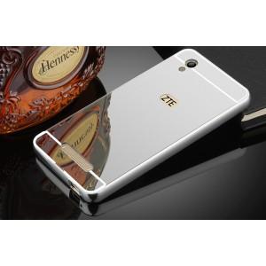 Двухкомпонентный чехол c металлическим бампером с поликарбонатной накладкой и зеркальным покрытием для ZTE Blade X3  Белый