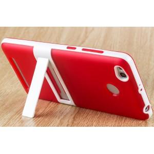 Двухкомпонентный силиконовый матовый полупрозрачный чехол с поликарбонатным бампером и встроенной ножкой-подставкой для Xiaomi RedMi 3 Pro/3S Красный