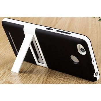 Двухкомпонентный силиконовый матовый полупрозрачный чехол с поликарбонатным бампером и встроенной ножкой-подставкой для Xiaomi RedMi 3 Pro/3S Черный