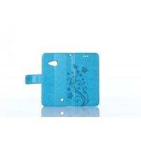 Чехол портмоне подставка текстура Узоры на силиконовой основе на магнитной защелке для Microsoft Lumia 550  Голубой
