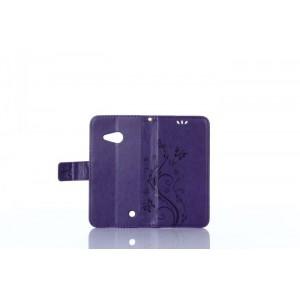 Чехол портмоне подставка текстура Узоры на силиконовой основе на магнитной защелке для Microsoft Lumia 550 Фиолетовый
