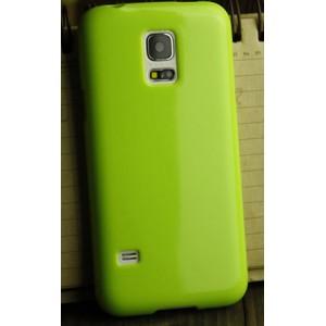 Силиконовый глянцевый непрозрачный чехол для Samsung Galaxy S5 Mini Зеленый