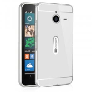 Двухкомпонентный чехол c металлическим бампером с поликарбонатной накладкой для Microsoft Lumia 640 XL  Белый