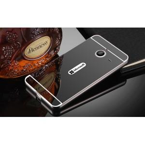 Двухкомпонентный чехол c металлическим бампером с поликарбонатной накладкой и зеркальным покрытием для Microsoft Lumia 640 XL Черный