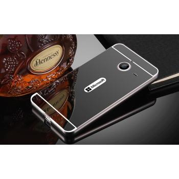 Двухкомпонентный чехол c металлическим бампером с поликарбонатной накладкой и зеркальным покрытием для Microsoft Lumia 640 XL