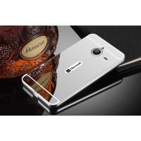 Двухкомпонентный чехол c металлическим бампером с поликарбонатной накладкой и зеркальным покрытием для Microsoft Lumia 640 XL Белый