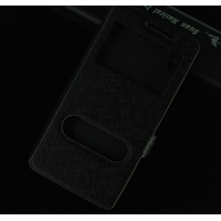 Чехол горизонтальная книжка подставка на пластиковой основе с окном вызова и свайпом на магнитной защелке для Lenovo A6000/A6010 Черный