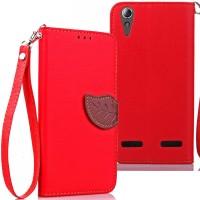 Чехол портмоне подставка на силиконовой основе на дизайнерской магнитной защелке для Lenovo A6000/A6010 Красный