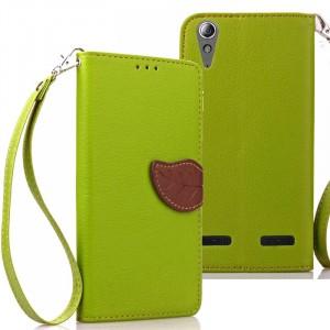 Чехол портмоне подставка на силиконовой основе на дизайнерской магнитной защелке для Lenovo A6000/A6010 Зеленый