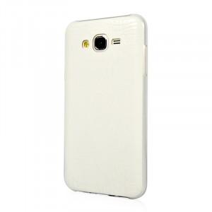 Силиконовый матовый непрозрачный чехол с текстурным покрытием Кожа для Samsung Galaxy J5 Белый