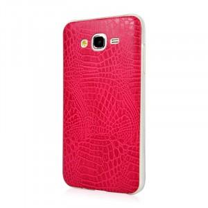 Силиконовый матовый непрозрачный чехол с текстурным покрытием Кожа для Samsung Galaxy J5 Пурпурный