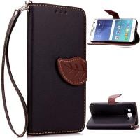 Чехол портмоне подставка на силиконовой основе на дизайнерской магнитной защелке для Samsung Galaxy J5  Черный