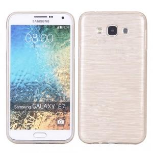 Силиконовый матовый полупрозрачный чехол с текстурным покрытием Металл для Samsung Galaxy J5  Бежевый