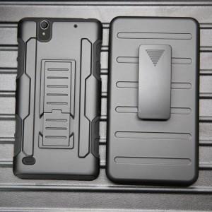 Противоударный двухкомпонентный силиконовый матовый непрозрачный чехол с поликарбонатными вставками экстрим защиты с встроенной ножкой-подставкой для Sony Xperia C4