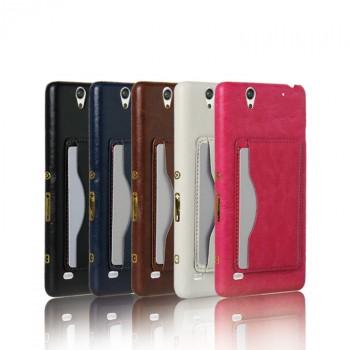 Чехол накладка текстурная отделка Кожа с отсеком для карт и функцией подставки для Sony Xperia C4