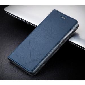 Чехол горизонтальная книжка подставка текстура Линии на пластиковой основе с отсеком для карт для Xiaomi RedMi 3 Pro/3S Синий