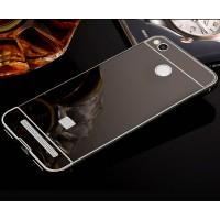 Двухкомпонентный чехол c металлическим бампером с поликарбонатной накладкой и зеркальным покрытием для Xiaomi RedMi 3 Pro/3S Черный