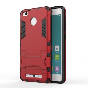 Противоударный двухкомпонентный силиконовый матовый непрозрачный чехол с поликарбонатными вставками экстрим защиты с встроенной ножкой-подставкой для Xiaomi RedMi 3 Pro/3S Красный