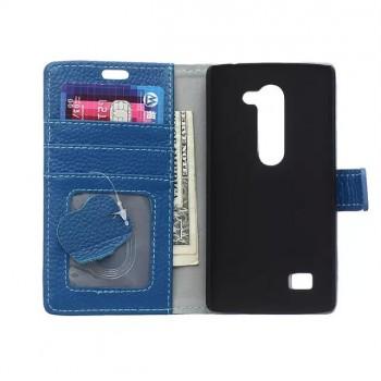 Кожаный чехол портмоне подставка на пластиковой основе на магнитной защелке для LG Spirit