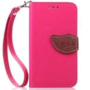 Чехол портмоне подставка на силиконовой основе на дизайнерской магнитной защелке для LG Leon  Пурпурный