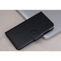 Чехол горизонтальная книжка на пластиковой основе с отсеком для карт текстура Металлик на магнитной защелке для LG Leon  Черный