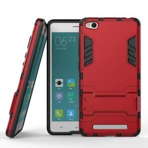 Противоударный двухкомпонентный силиконовый матовый непрозрачный чехол с поликарбонатными вставками экстрим защиты с встроенной ножкой-подставкой для Xiaomi RedMi 3 Красный